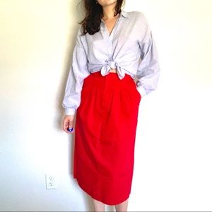 Dresses & Skirts - Bright Red Vintage Midi Skirt